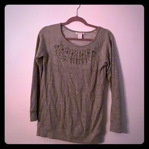 Grey maternity sweater with rhinestones